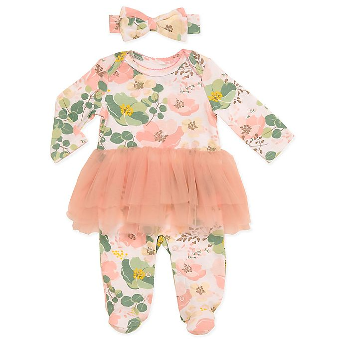 Alternate image 1 for Baby Starters® 2-Piece Floral Tutu Footie and Headband Set