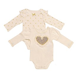 Baby Starters® 2-Pack Gold Heart Long Sleeve Bodysuits in Ivory