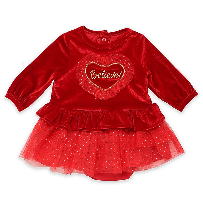 Alternate image 1 for Baby Starters® 2-Piece Believe Velour Dress and Panty Set in Red
