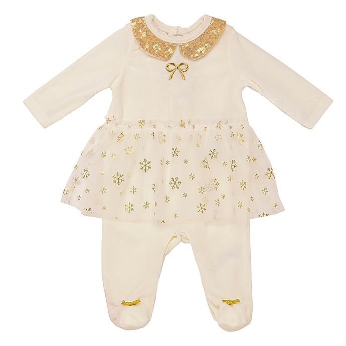 Alternate image 1 for Baby Starters® Velour Skirted Coverall in Ivory
