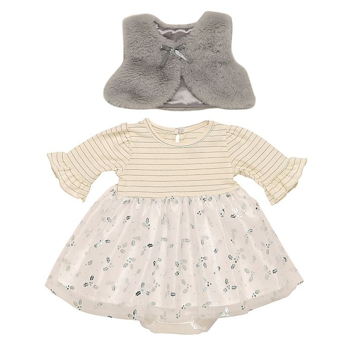 Alternate image 1 for Baby Starters® 3-Piece Silver Stripe Dress, Vest and Diaper Cover Set in White