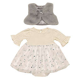 Baby Starters® 3-Piece Silver Stripe Dress, Vest and Diaper Cover Set in White