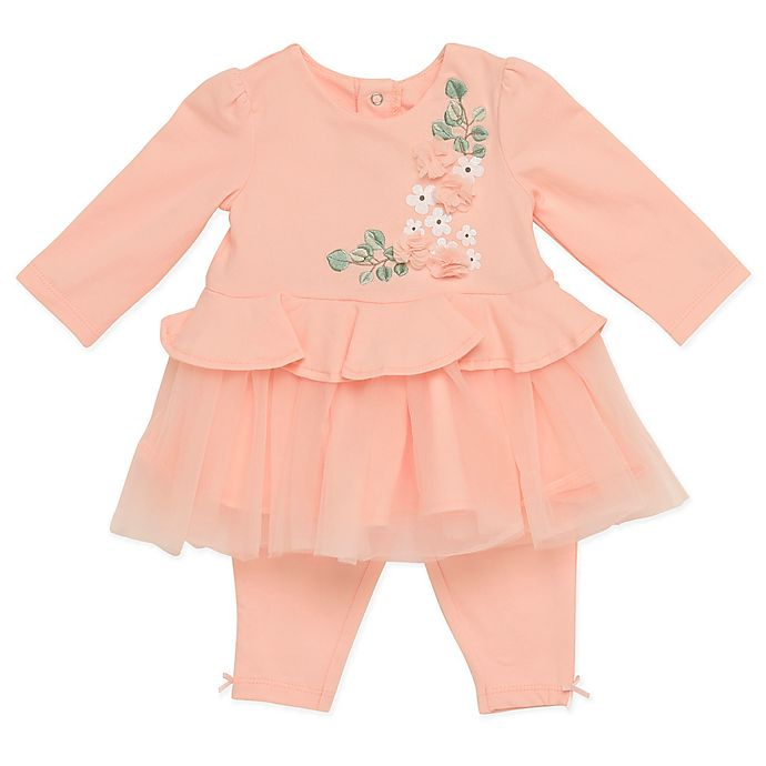 Alternate image 1 for Baby Starters® 2-Piece Peach with Flowers Dress and Pant Set