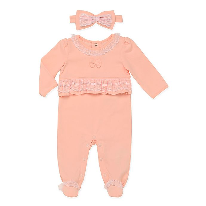 Alternate image 1 for Baby Starters® 2-Piece Lace Footie and Headband Set in Peach