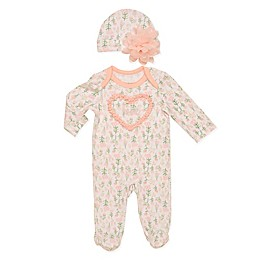 Baby Starters® 2-Piece Heart Floral Footed Coverall and Hat Set in White