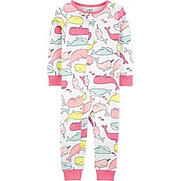 carter's® 2-Piece Whales Zip-Front Footless Pajama in White