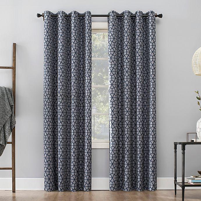 Alternate image 1 for Sun Zero™ Burke Twill Mosaic 95-Inch Grommet Thermal Blackout Curtain Panel in Navy Blue/Denim