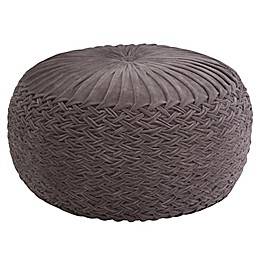 Simpli Home™ Grafton Round Velvet Pouf in Grey