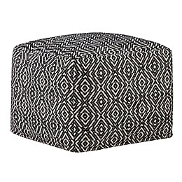 Simpli Home™ Graham Square Cotton Pouf in Black/Natural