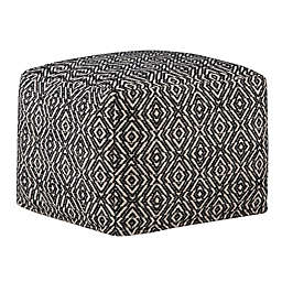 Simpli Home™ Graham Square Cotton Pouf in Black/Natural