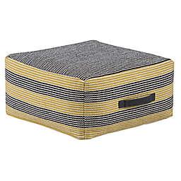 Simpli Home™ Keller Square Cotton Pouf in Grey/Yellow