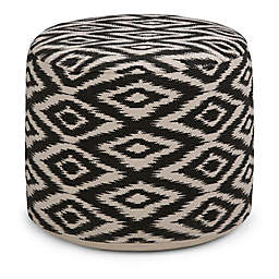 Simpli Home™ Kinney Round Cotton Pouf in White/Black