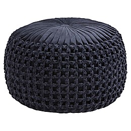 Simpli Home™ Renee Round Velvet Pouf in Navy
