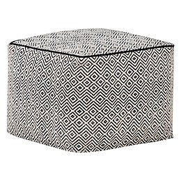 Simpli Home™ Brynn Square Cotton Pouf in Black/Natural