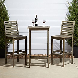 Vifah Renaissance 3-Piece Patio Bar Set in Grey