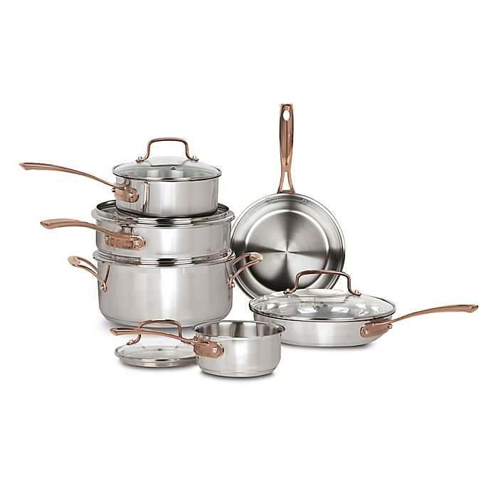 Alternate image 1 for Cuisinart® Minerals 11-Piece Stainless Steel Cookware Set