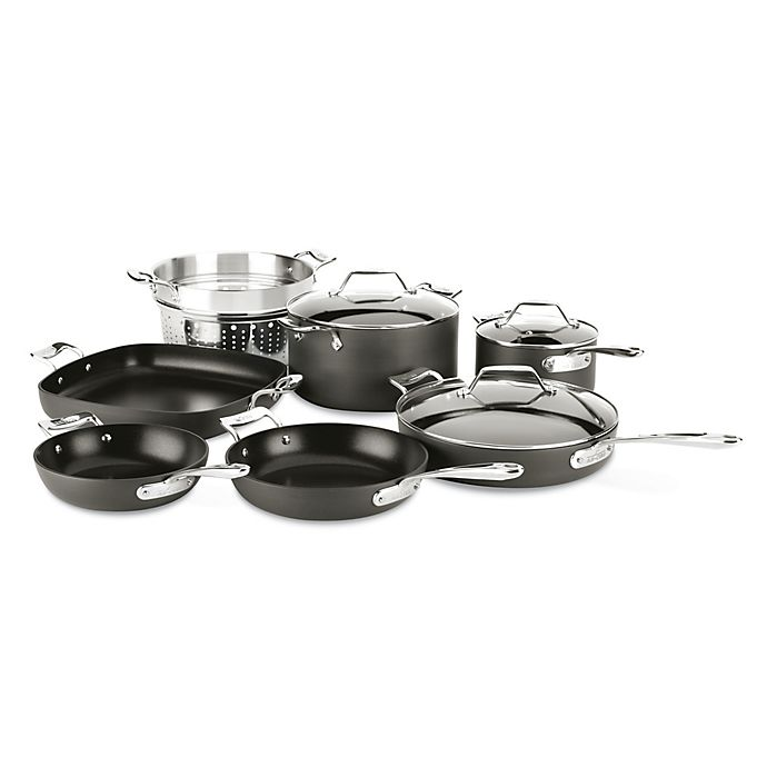 Alternate image 1 for All-Clad Essentials Nonstick 10-Piece Hard-Anodized Cookware Set
