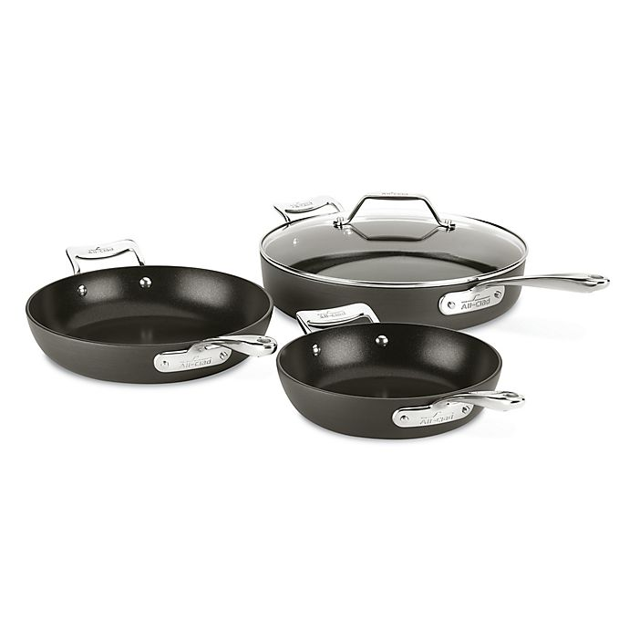 Alternate image 1 for All-Clad Essentials Nonstick 4-Piece Hard-Anodized Skillet Set