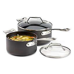 All-Clad Essentials Nonstick 6.5 qt. Stainless Steel 2-Piece Hard-Anodized Saucepan Set
