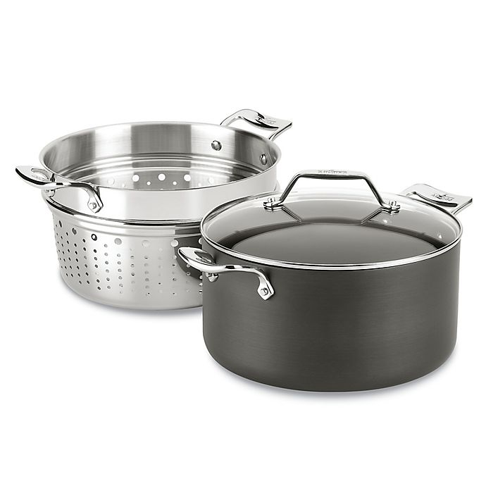 Alternate image 1 for All-Clad Essentials Nonstick 7 qt. Hard-Anodized 3-Piece Covered Multi-Pot with Insert