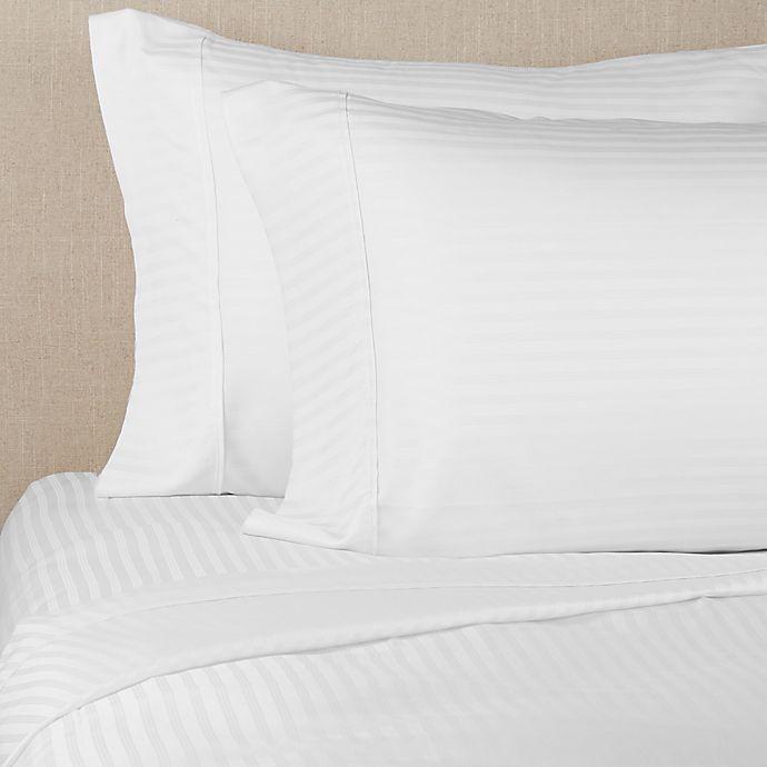 Alternate image 1 for Brookstone® BioSense™ Striped 500-Thread-Count Lyocell King Sheet Set in White