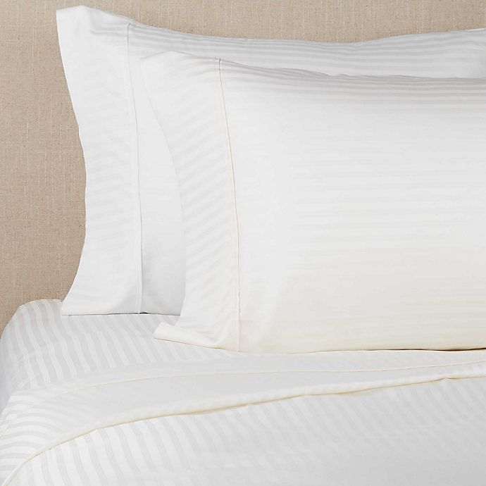 Alternate image 1 for Brookstone® BioSense™ Striped 500-Thread-Count Lyocell Twin XL Sheet Set in Ivory