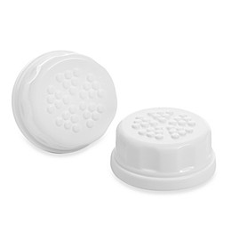 Lifefactory® 2-Pack Baby Bottle Flat Solid Cap Set in White