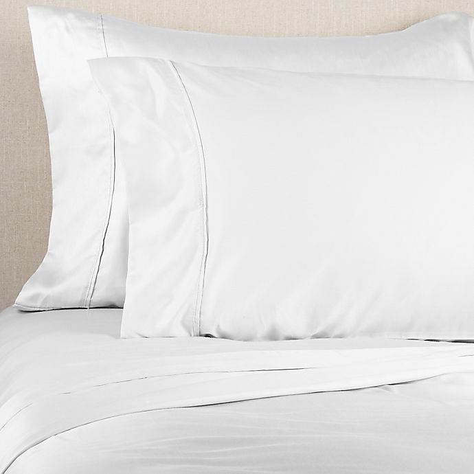 Alternate image 1 for Brookstone® BioSense™ 500-Thread-Count Lyocell Twin Sheet Set in White