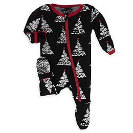 KicKee Pants® Midnight Foil Tree Footie in Black