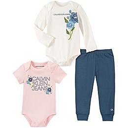 Calvin Klein 3-Piece Flower Bodysuit and Pant Set