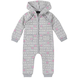 Calvin Klein Pink Stars Hooded Coverall in Grey