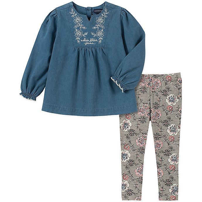 Alternate image 1 for Calvin Klein® 2-Piece Denim Top and Floral Leggings Set in Chambray