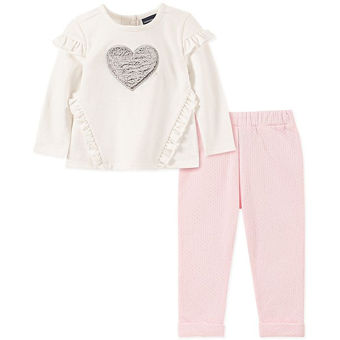 Alternate image 1 for Calvin Klein 2-Piece Heart Shirt and Legging Set in White