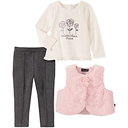 Calvin Klein 3-Piece Flowers Top, Legging, and Vest Set