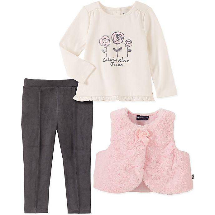 Alternate image 1 for Calvin Klein 3-Piece Flowers Top, Legging, and Vest Set