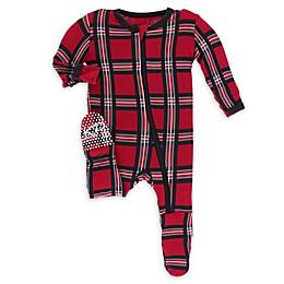 KicKee Pants® Christmas Plaid Footie in Red