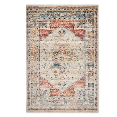 Magnolia Home By Joanna Gaines Trinity Floral Rug In Sand Blue Bed Bath Beyond