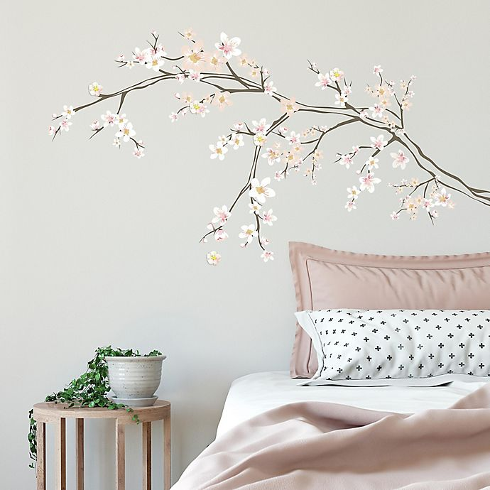 Alternate image 1 for RoomMates® Cherry Blossom Branch Peel and Stick Giant Wall Decals with 3D Embellishments
