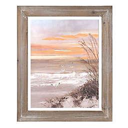 Sunset Beach with Seagulls Framed Wall Art
