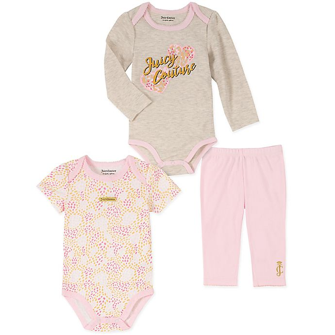 Alternate image 1 for Juicy Couture® 3-Piece Grey Hearts Bodysuit and Pant Set in Pink