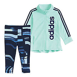 adidas® Baby Jacket & Printed Tight Set in Mint