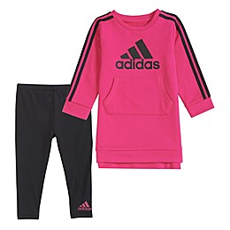adidas® Girls Athletics Dress & Tights Set in Magenta