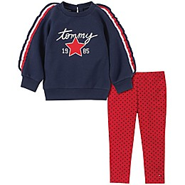 Tommy Hilfiger® 2-Piece Ruffle Sleeve Fleece Top and Legging Set in Navy