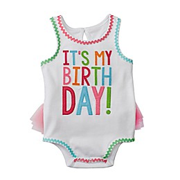 "Mud Pie® Size 12-18M ""It's My Birthday!"" Tutu Bodysuit in White"