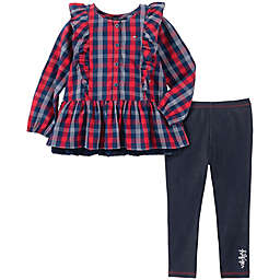 Tommy Hilfiger® 2-Piece Ruffle Plaid Top and Legging Set