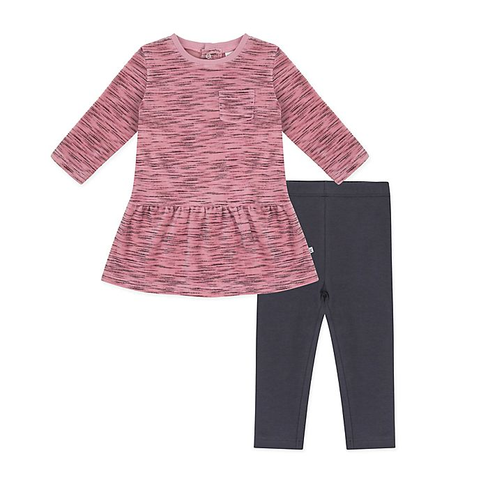 Alternate image 1 for Petit Lem® 2-Piece Velour Dress and Legging Set in Pink