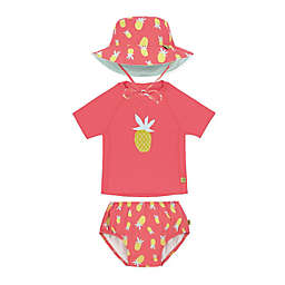 Lassig Size 3-Piece Pineapple Toddler Rashguard Swim Diaper and Bucket Hat Set in Coral
