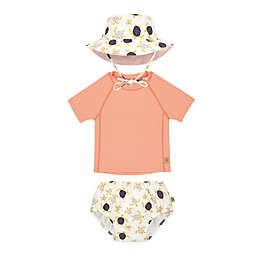 Lassig Size 3-Piece Turtles Toddler Rashguard Swim Diaper and Bucket Hat Set in Pink