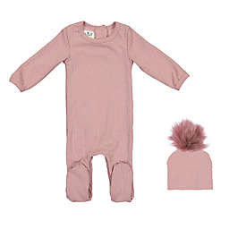 HannaKay by Manière Ribbed Footie in Pink