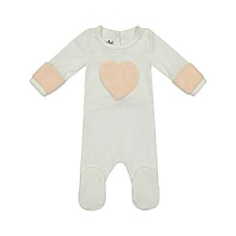 HannaKay by Manière Pink Heart Footie in White